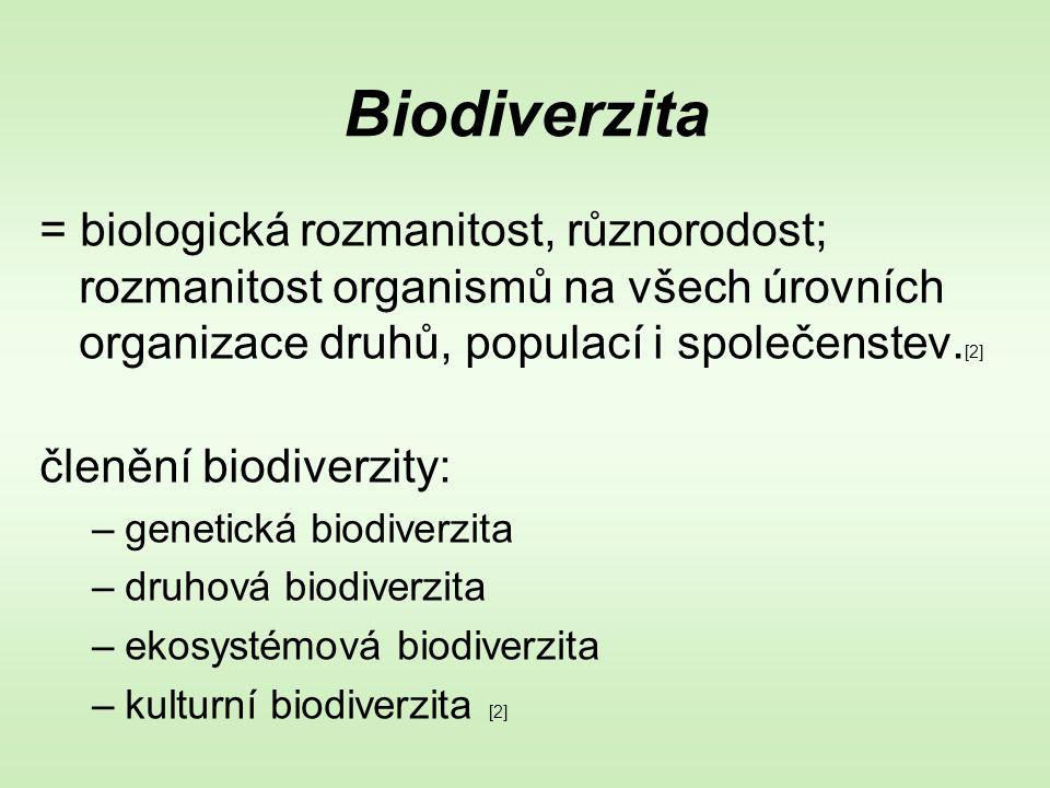 Biodiverzita = biologická rozmanitost, různorodost; rozmanitost organismů na všech úrovních organizace druhů, populací i společenstev.[2]